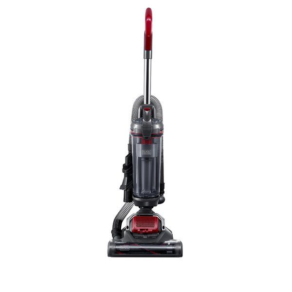 The Black+Decker Airswivel Ultra Light Weight Upright Vacuum Cleaner  features 170-degree swivel steering. Unlike traditional vacuums which typically require two separate motors to accommodate swivel functionality, the patented AirSwivel technology only needs one motor, allowing for maximum maneuverability and ease of use. Includes 3-in-1 crevice tool with brush and upholstery tool to allow for vacuuming in narrow and hard to reach places and turbo pet tool for vacuuming pet hair on all…