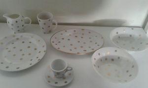 40 Piece Dinner SET White With Gold Spots | eBay