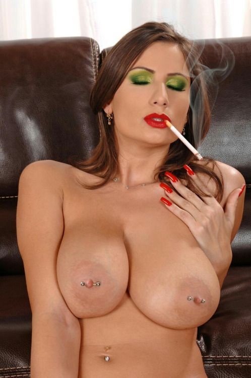 sexy woman smoking a cigarette