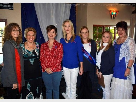 THE women who joined the Woman of Courage morning. Dinah Lotter, Marise Riekert, Finette Britz, Carike Pretorius, Chantelle Olivier (Woman of Courage), Zerina Du toit and Marietjie Holtzhausen.