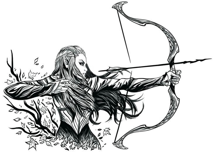 tattoo commission 1 _ Tauriel (with shadow)