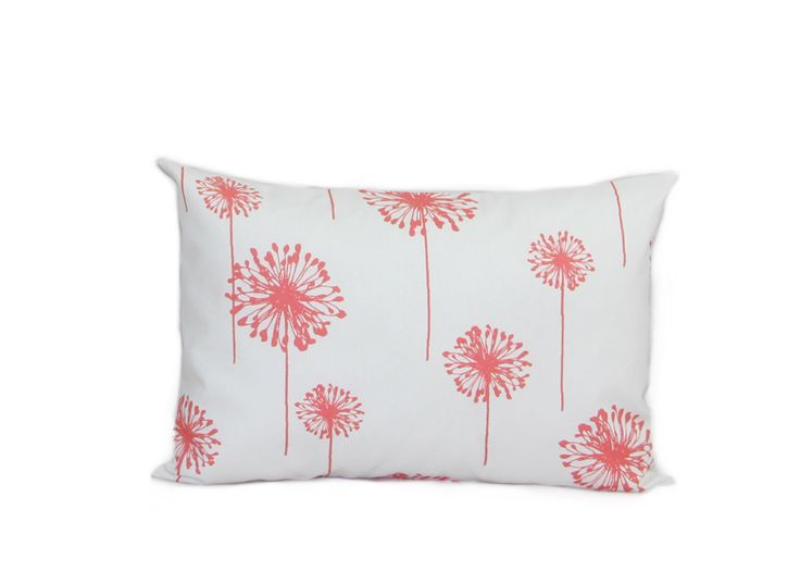 Coral Pillows Dandelion White/Coral Decorative Pillow Covers Accent Pillows Cushion Covers Lumbar Pillows Queen Pillows King Pillows by HomeDecorPillows on Etsy https://www.etsy.com/listing/235425342/coral-pillows-dandelion-whitecoral
