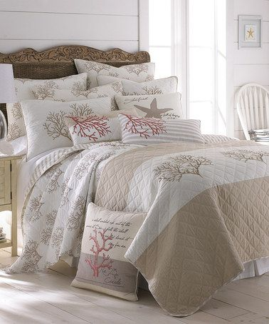 Take a look at this Beige Coral Quilt Set by Levtex Home on #zulily today!