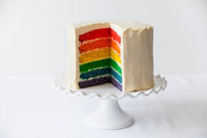 Layered Rainbow cake , gorgeous on this white pedestal cake stand.