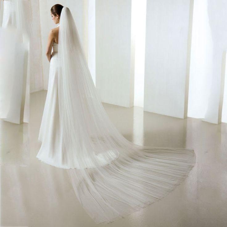 >> Click to Buy << Veu De Noiva White Ivory Wedding Veil Layer 2 Cut Edge Chapel Length Bridal Veil With Comb Velos De Novia #Affiliate