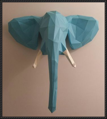 Jungle Elephant Head Wall Hanging Free Paper Craft Download - http://www.papercraftsquare.com/jungle-elephant-head-wall-hanging-free-paper-craft-download.html