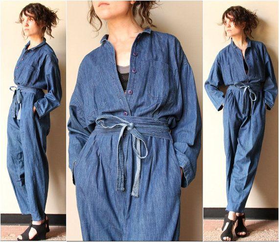 Chambray Shirt Denim Jumpsuit - vintage 80s 90s slouchy one piece avant garde mechanic coveralls, summer denim dungarees, obi wrap belt