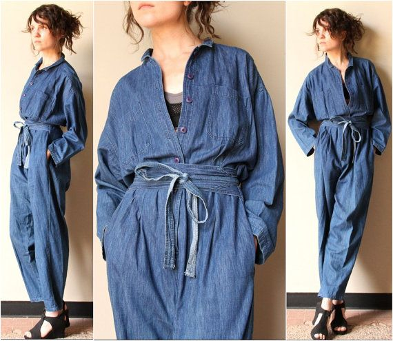 Vintage Chambray Shirt Denim Jumpsuit
