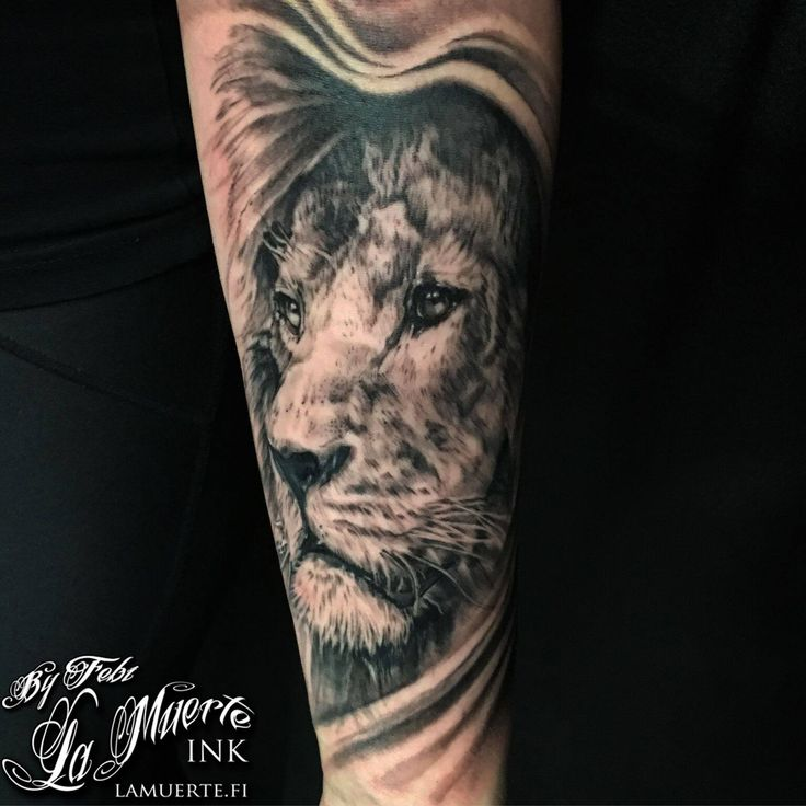 Lion portrait tattoo by Febianto Eskelinen @ La Muerte Ink