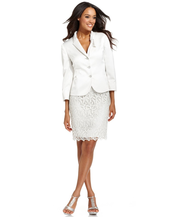 Tahari by ASL Petite Suit, Three-Quarter-Sleeve Jewel-Button Jacket & Lace Skirt - Womens Petite Suits & Separates - Macy's