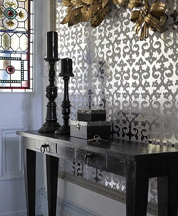 mirrored wall, framed & stenciled pattern.. truly fantastic!! cld do on a smaller mirror too
