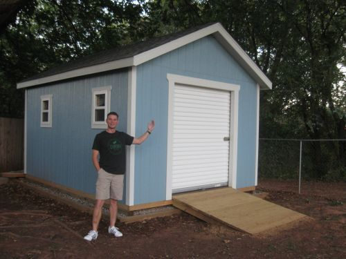 This 12x16 shed with gable style roof has a 6 39 wide 7 for Storage shed overhead door