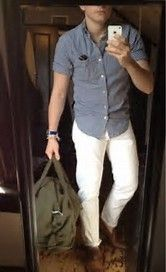Image result for what to wear with mens white pants