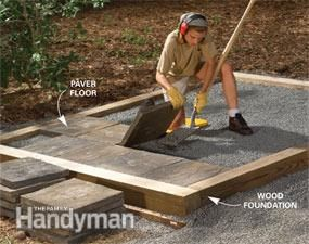 Tips for building a storage shed - Alternatives to a concrete slab -  Pressure-treated lumber laid on a bed of gravel gives you a fast, easy foundation that will last for decades. Or lay joists on the wood foundation and fill the wood foundation with gravel and lay cement pavers. A paver floor allows water to drain through, so it's perfect for a gardening shed and you can rinse the floor clean with a hose.