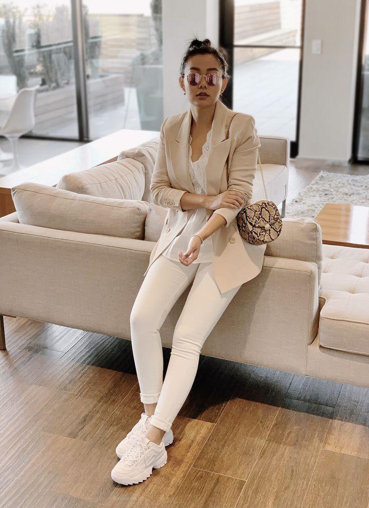 monochronic white outfit, cream blazer