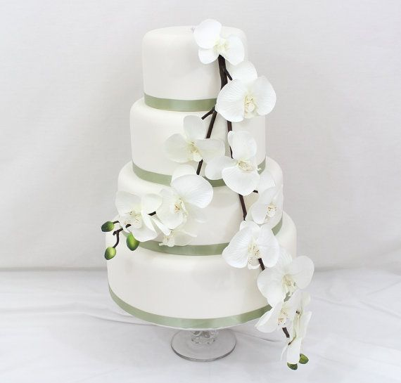 wedding cake topper white orchid silk flower wedding cake layer