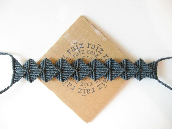 Unisex Bracelet Grey Origami Macramé Metal Free Texture  by raiz, $38.00