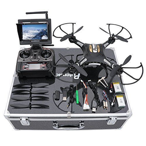 5.8 GHz Drone Quadcopter FPV 2MP Camera LCD Screen Monitor & Carrying Case Black #RcDrone
