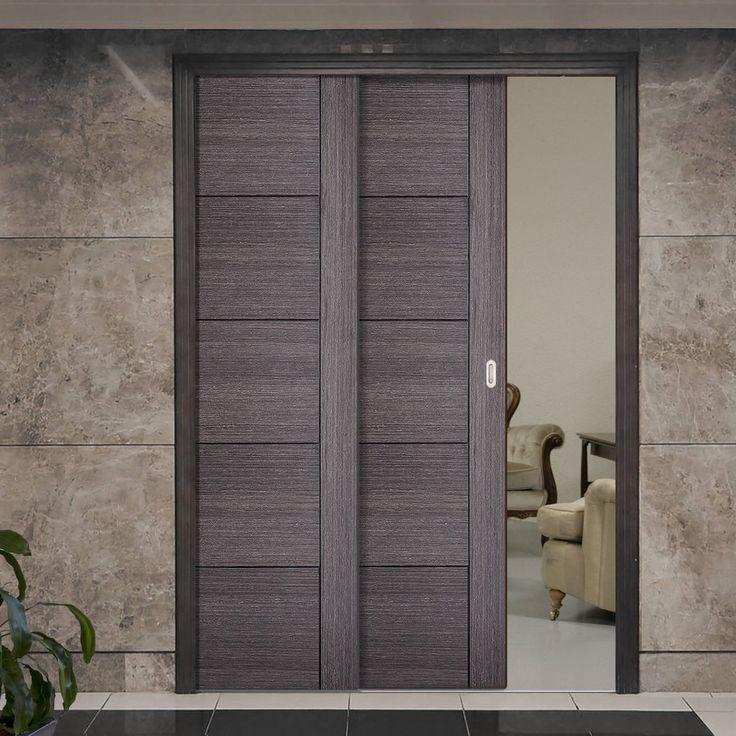 Twin Telescopic Pocket Vancouver Ash Grey Doors - Prefinished.      #pocketdoor  #interiordesign  #oakdoor  #telescopicdoors