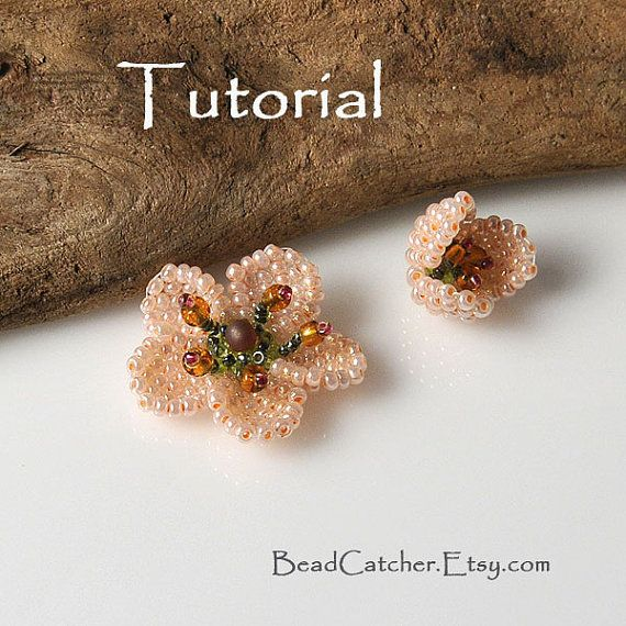 Bead woven Cherry blossom tutorial by BeadCatcher on Etsy, $7.00