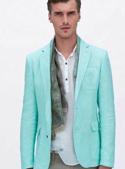 Men's mint green Zara blazer with scarf and white linen shirt