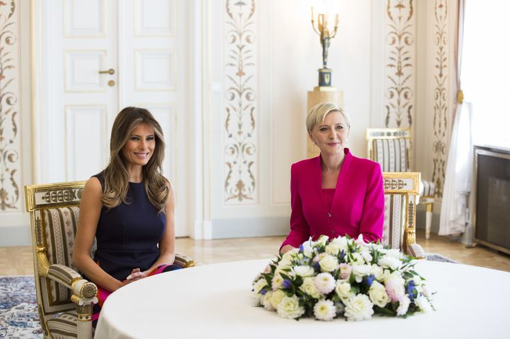 First Lady Melania Trump (L) and Agata Kornhauser-Duda (R) meet at the Belvedere Palace in Warsaw on July 6, 2017.US President Donald Trump is on his first visit behind the former Iron Curtain. He is expected to focus largely on defence in talks with Baltic, Balkan and central European leaders. / AFP PHOTO / Andrzej HULIMKA (Photo credit should read ANDRZEJ HULIMKA/AFP/Getty Images) via @AOL_Lifestyle Read more: https://www.aol.com/article/news/2017/07/06/melania-trump-advocates-for-life-