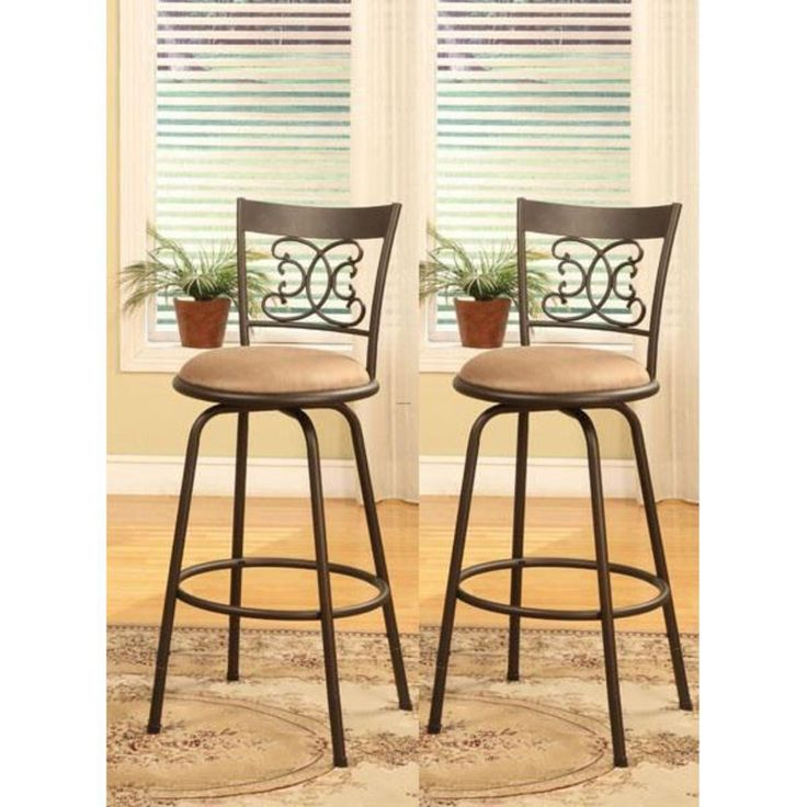 These Metal Bar Stools Fit Into Almost Any Dining, Bar, Game Room Or  Kitchen Decor. These Stools Have A Swivel Design Seat And Come With  Extension Rods To ...