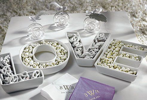 Love plate set to add elegance to your wedding candy buffet.
