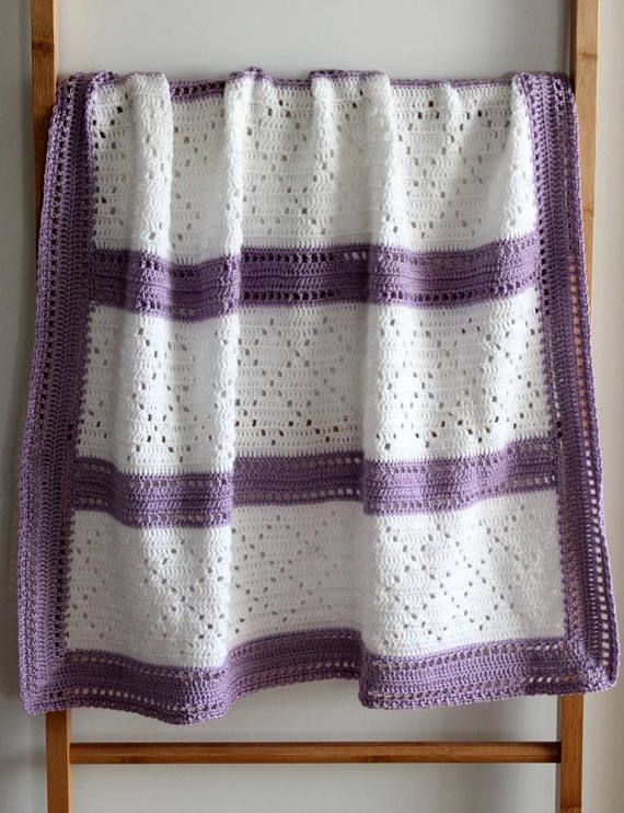 Crochet White Diamonds Baby Blanket