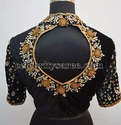 High Neck Work Blouse in Black | Saree Blouse Patterns