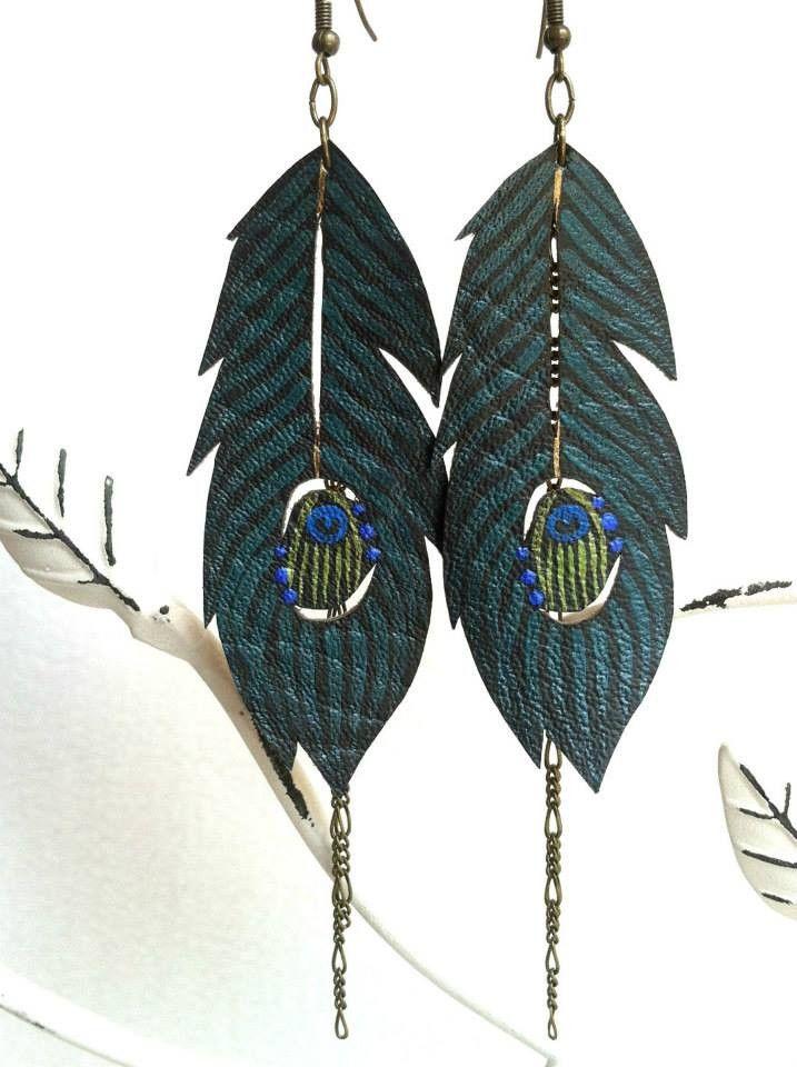 Hand Painted Peacock Earrings