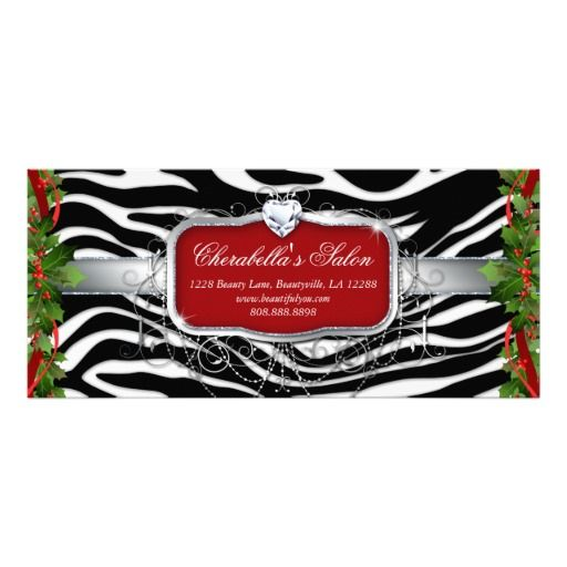 Christmas Gift Certificate Fashion Jewelry Zebra Customized Rack Card $0.85 each -- click for sales and volume DISCOUNTS!