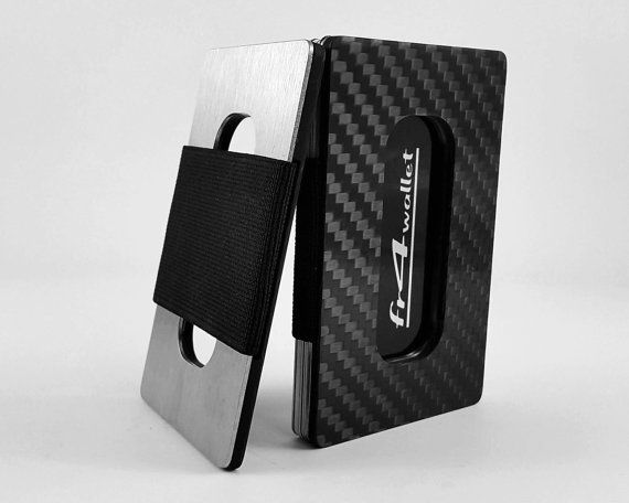 fr4 wallet Carbon Fiber Minimallist RFID-Blocking slim front-pocket wallet made of real Carbon Fiber and Stainless Steel is the best way to protect your credit or business cards!   Our minimallist wallet is made of carbon fiber and stainless steel precisely cut on CNC machine, which provide great protection for your cards, and can prevent them from being damaged. Thanks to thick layer of stainless steel, your credit cards are immune to RFID-scamming or hacking. Thick stylish rubber band…