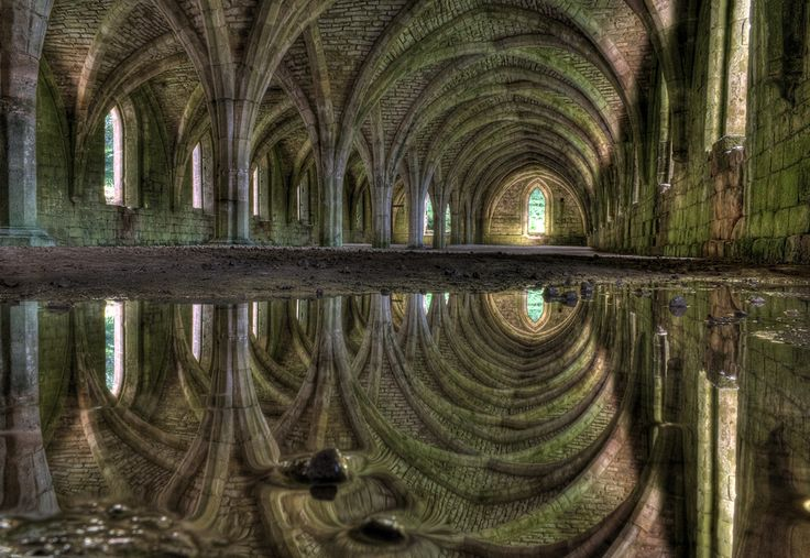 A small puddle in the remains of the Abbey in North Yorkshire