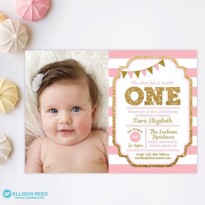 Pink and Gold invitation 1st Birthday Invitation by EllisonReed