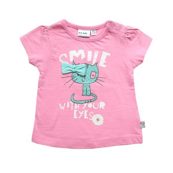 Blue Seven roze shirt met poes maat 68. Voor maar €7,50 en je betaalt geen verzendkosten! #BlueSeven #Babykleding
