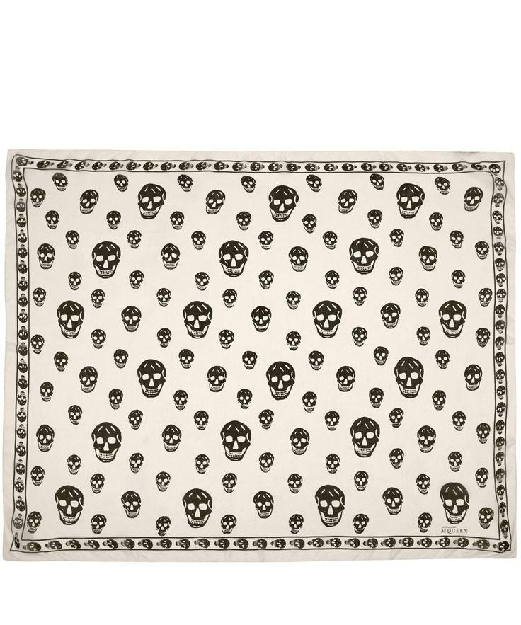 Alexander McQueen White Skull Print Silk Chiffon Scarf