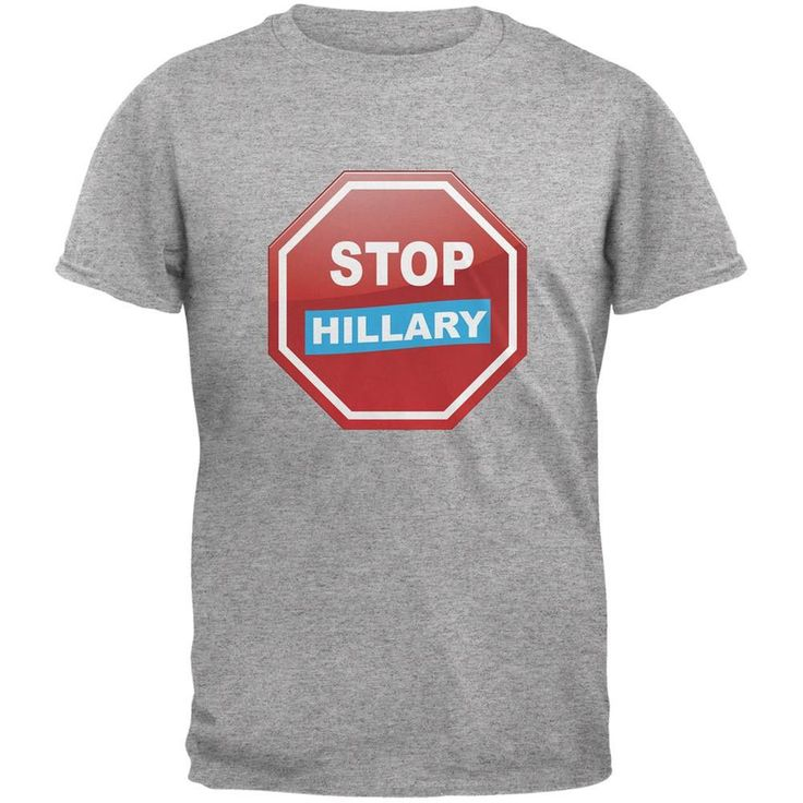 Election 2016 Stop Hillary Heather Grey Adult T-Shirt