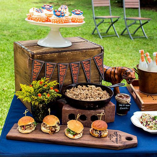 Keep Hot Food Hot! - Tips for Hosting a Great Tailgate - Southernliving. One of my favorite ways to serve pulled pork is in a cast iron skillet placed on top of bricks and with a can of Sterno (add a cast iron trivet to avoid damage to table). Choose a great tray to feature a few pre-made sliders then allow guest to self serve.     Love it? Get it!Lamon Luther Bread Board, $45; lamonluther.comSouthern Living Country White Serveware, starting at $30; dillards.com