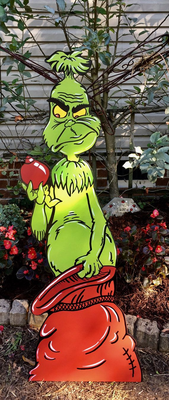 Grinch yard art. 4ft tall Made from MDO signboard * All copyrights and trademarks of the character images used belong to their respective owners and are not being sold/not for sale. This item is not a licensed product and I do not claim ownership over the characters used in my designs. This listing is for the time/effort used to create this item.