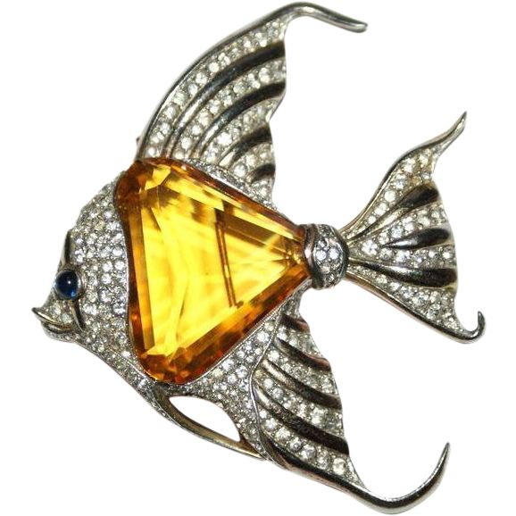 Trifari Citrine Belly Cleo Fish Fur Clip Pin 1940's Luminous Bijoux Exclusively on Ruby Lane