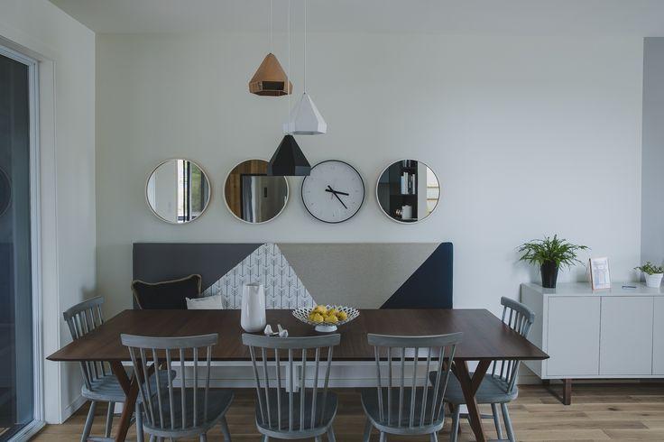 table cuisine salle-à-manger lampe authentik de la maison modèle du projet immobilier Faubourg 1792 à Bromont
