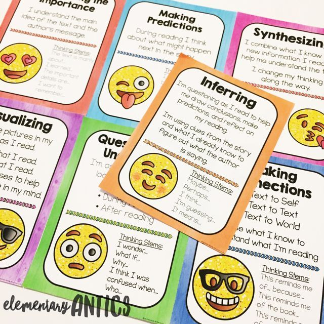 """Emoji Reading Comprehension Strategy Posters that includes Making Connections, Questioning, Inferring, Synthesizing, Determining the Importance, Visualizing and Making Predictions. Each poster offers an explanation of the strategy and several """"Thinking Stems"""" for your students to refer. This packet is a fun colorful emoji theme."""