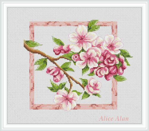 Branch of Apple blossoms Counted Cross Stitch от HallStitch