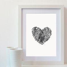 Affiche coeur avec empreintes digitales - impression numérique en a4
