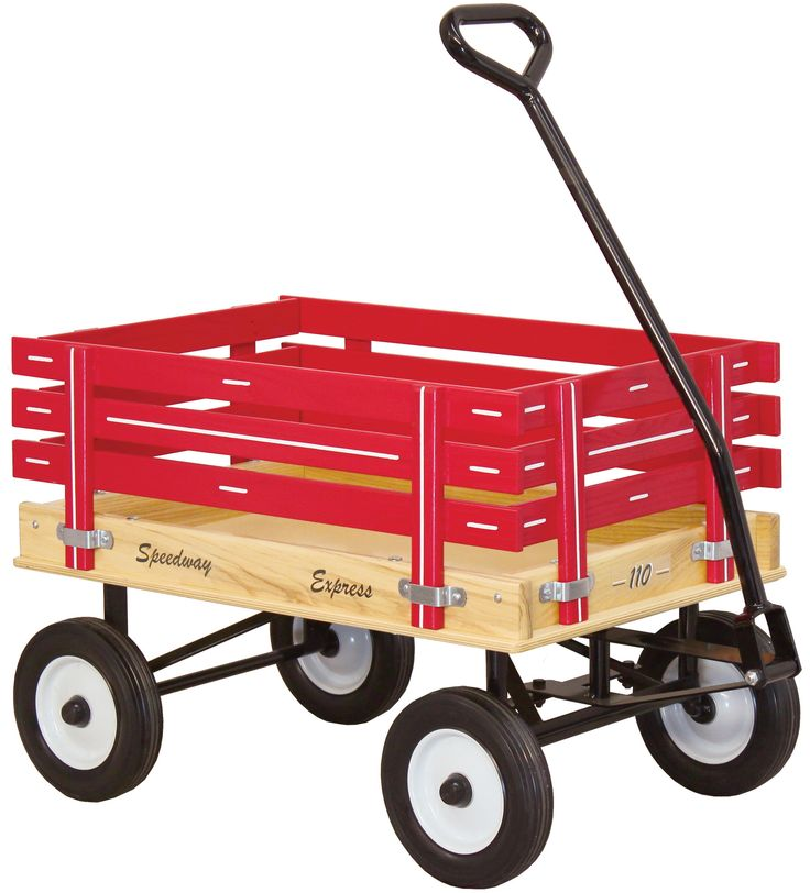 Classic CHILDREN'S WAGON - NO FLAT TIRES - Amish Made in USA - RED GREEN PINK & BLUE