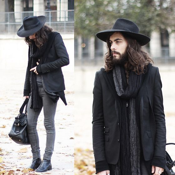 Black on grey (by Tony Stone) http://lookbook.nu/look/4193873-black-on-grey