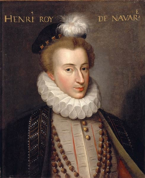 King Henry of Navarre (1553-1610), leader of the French protestant Huguenots, who would become King of France in 1589. In 1572 he was forced to marry Margaret of Valois by her mother, Catherine de Medici, who used the wedding as an opportunity to kill thousands of Protestants who came to Paris for the wedding and thousands more in the days after. It would be known as the St. Bartholemew's Massacre.