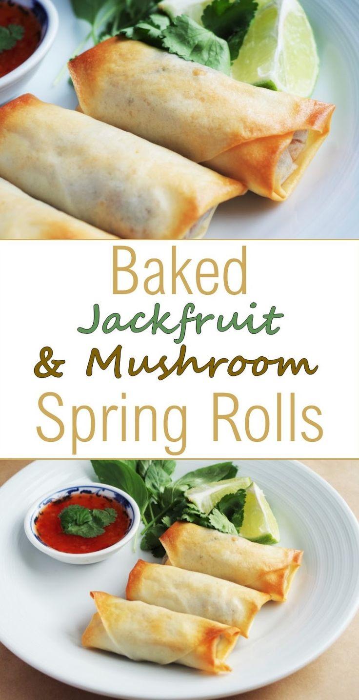 Baked Jackfruit & Mushroom Spring Rolls  Euphoric Vegan