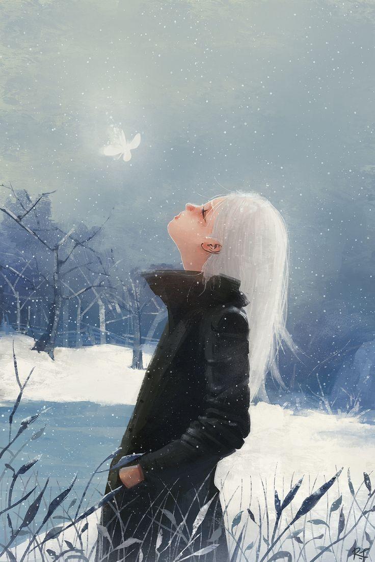 Butterfly in snow.